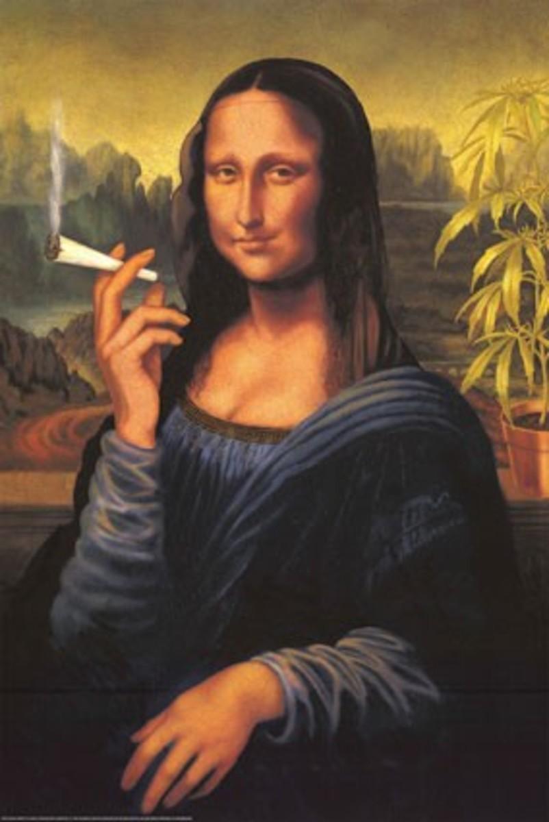 Ironic version of Leonardo Da Vinci's Mona Lisa smoking a joint.