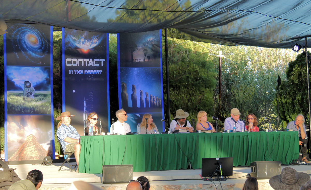 UFOs, Spirituality & the Evolution of Consciousness Panel with (from left to right) James Gilliland, Laura Eisenhower, Graham Hancock, JJ & Desiree Hurtak, Tricia McCannon, Robert Perala and Linda Moulton Howe.