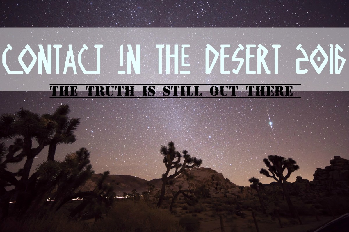 CONTACT in the DESERT is a weekend of exploration into Ancient Astronaut Theory, Extraterrestrial Life, Human Origins, Crop Circles, Anti-Gravity Machines, UFO Sightings, Planet X, Contact Experiences, and the Need to Know.