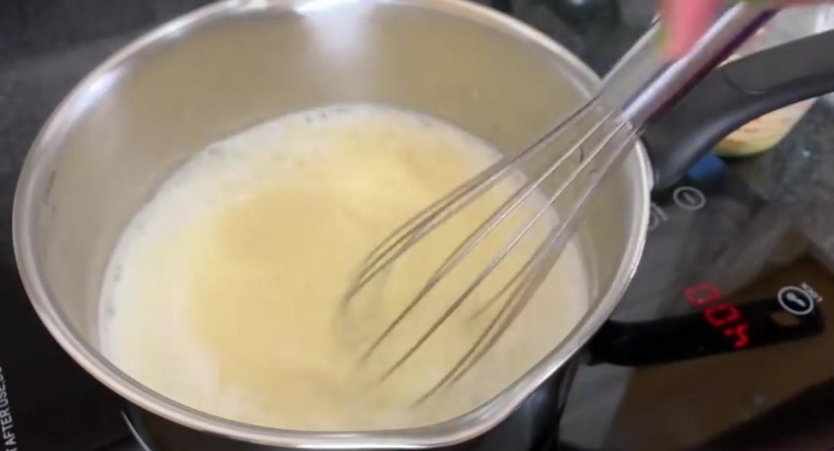 Firstly add ½ of custard mixture