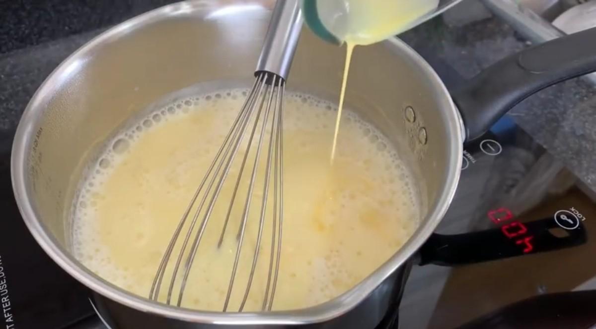 Add remaining custard mixture