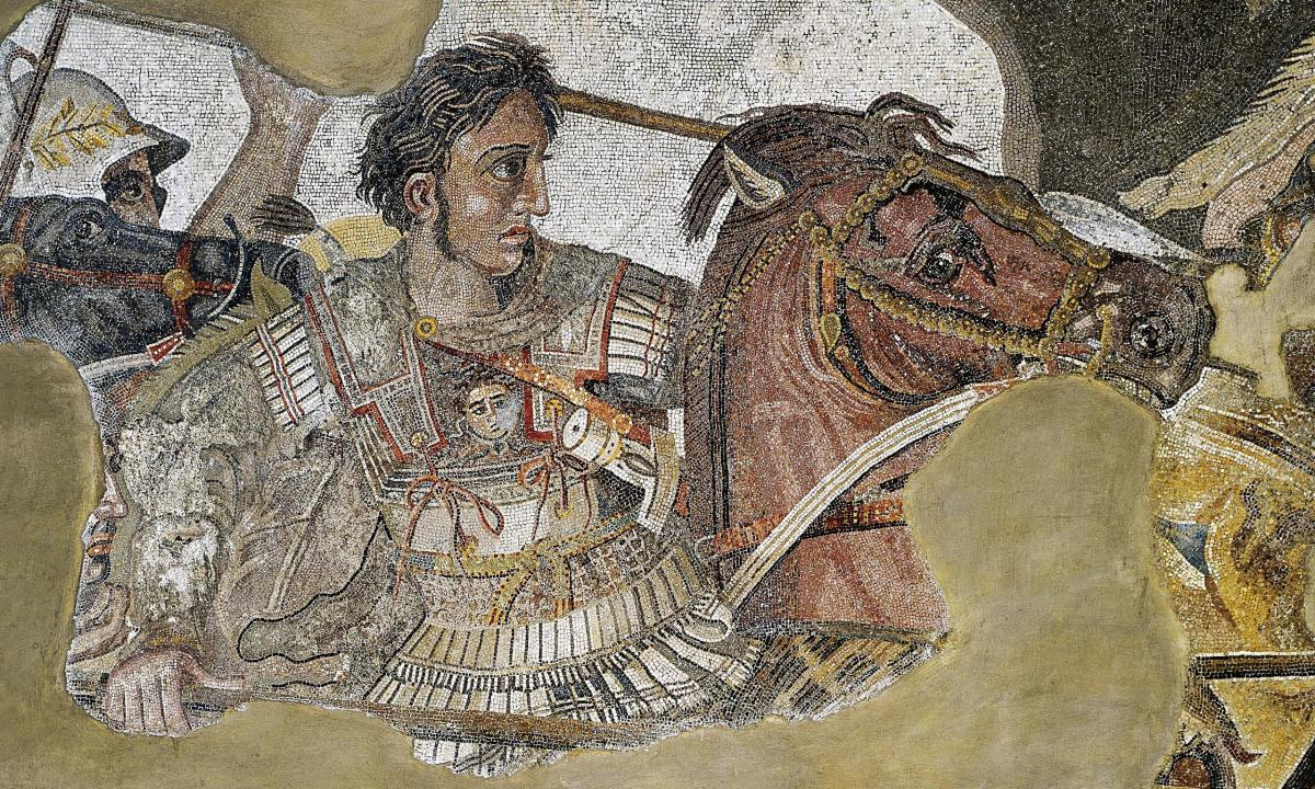 Detail of a floor mosaic depicting Alexander excavated in House of the Faun, Pompeii, Italy. Circa 100 BCE.