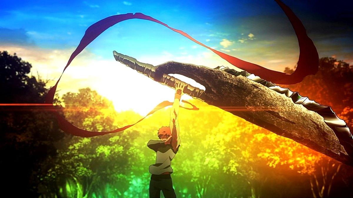 Shirou using his projection magic against Berserker.