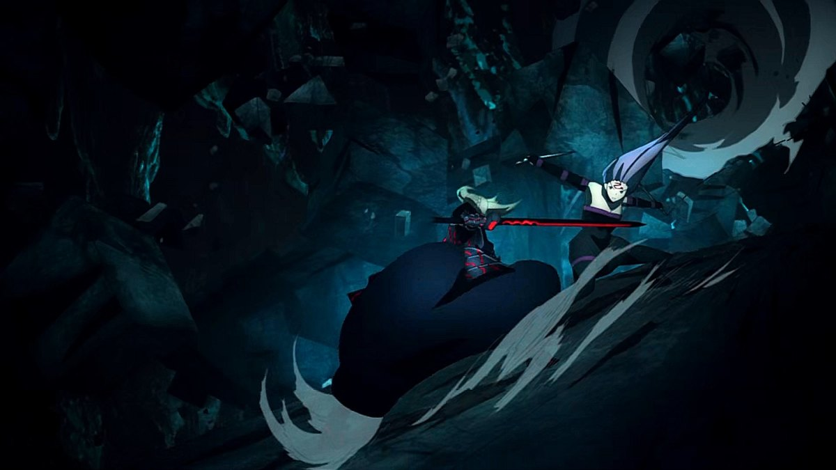 """Saber Alter VS. Rider in the climax of """"Fate/Stay Night: Heaven's Feel III: Spring Song""""."""