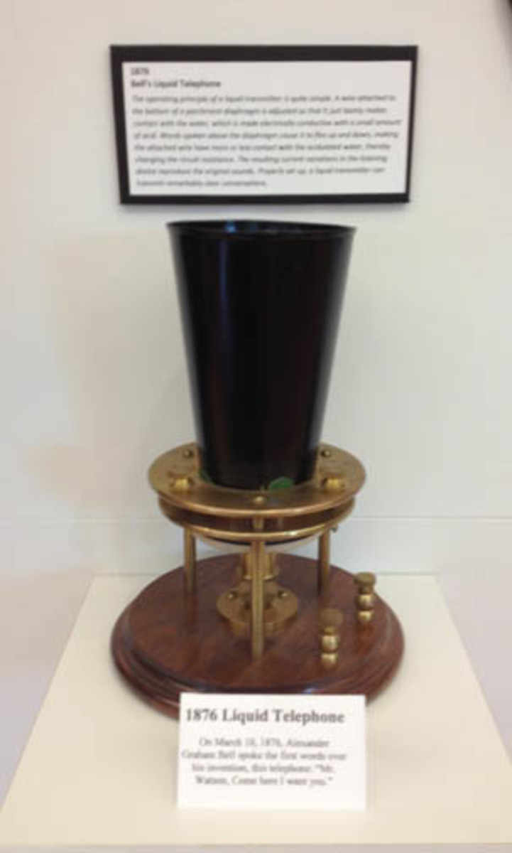 There are but a few reproductions at the museum; four to be exact. This is a replica of the liquid phone that Bell had worked on.