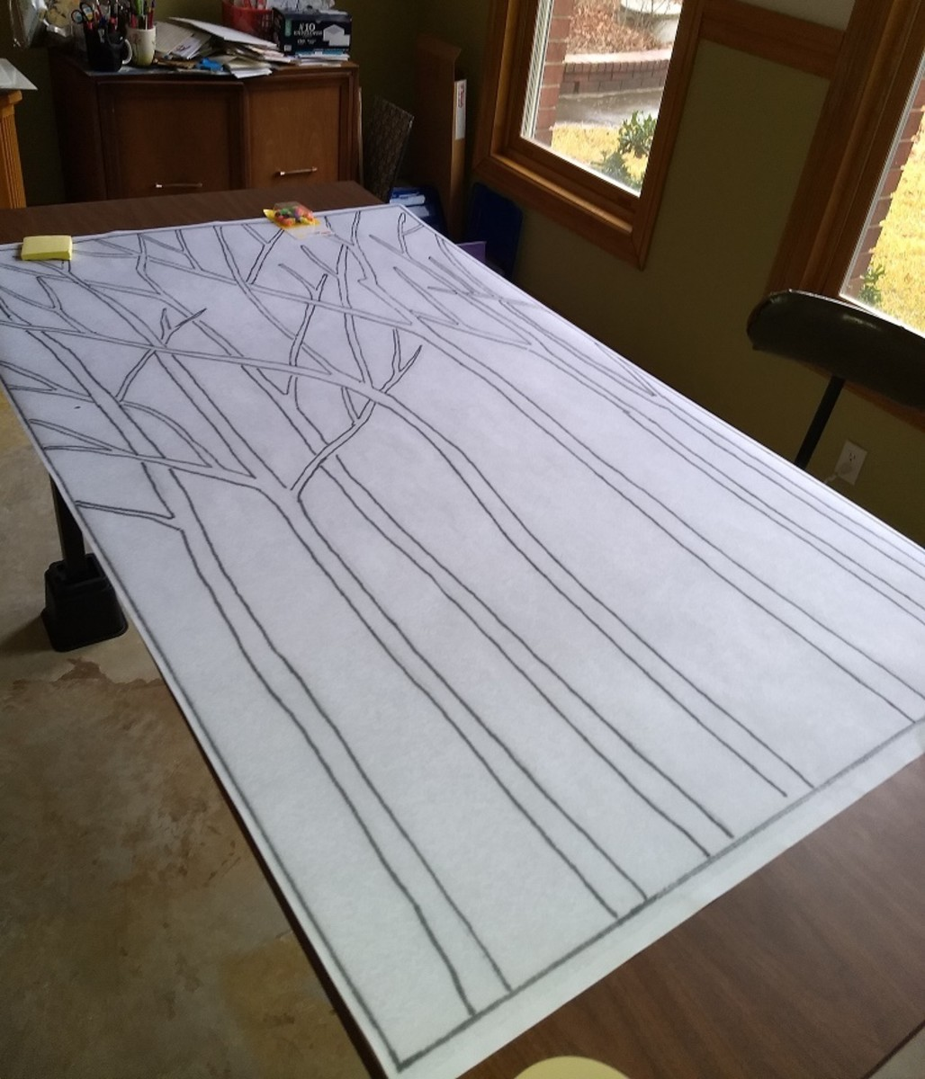 This was our Lenten tree drawing after we enlarged it to be transferred to the foam core panels.