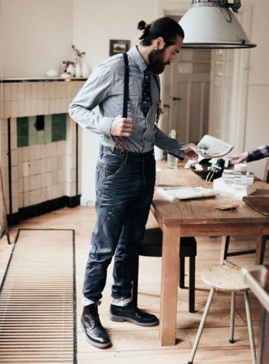 Suspenders with button fasteners look classic and rugged.
