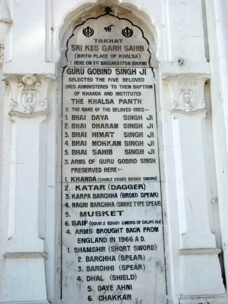 Inscription Naming The Beloved Five At Gurudwara Keshgarh Sahib