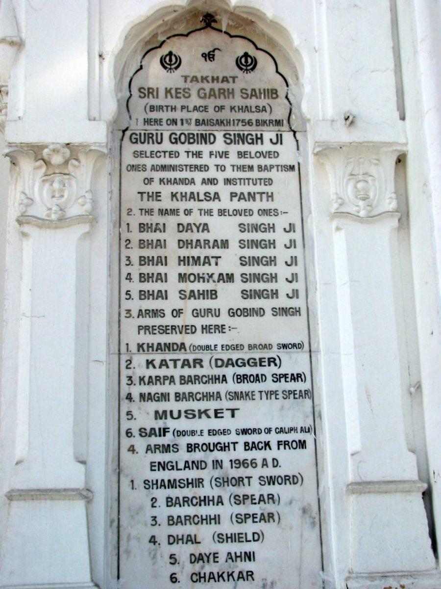 Inscription Naming The Beloved Five At Gurudwara Keshgarh Sahib