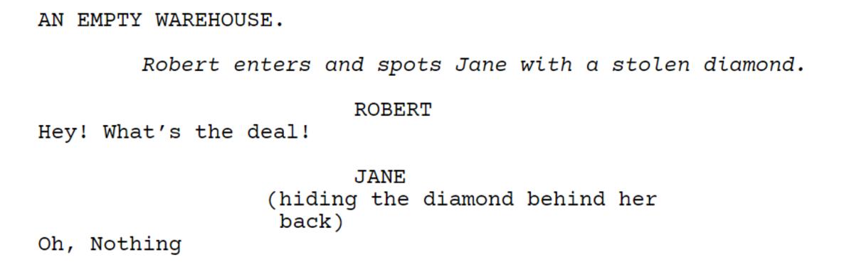 The dialogue in a WriterDuet document.