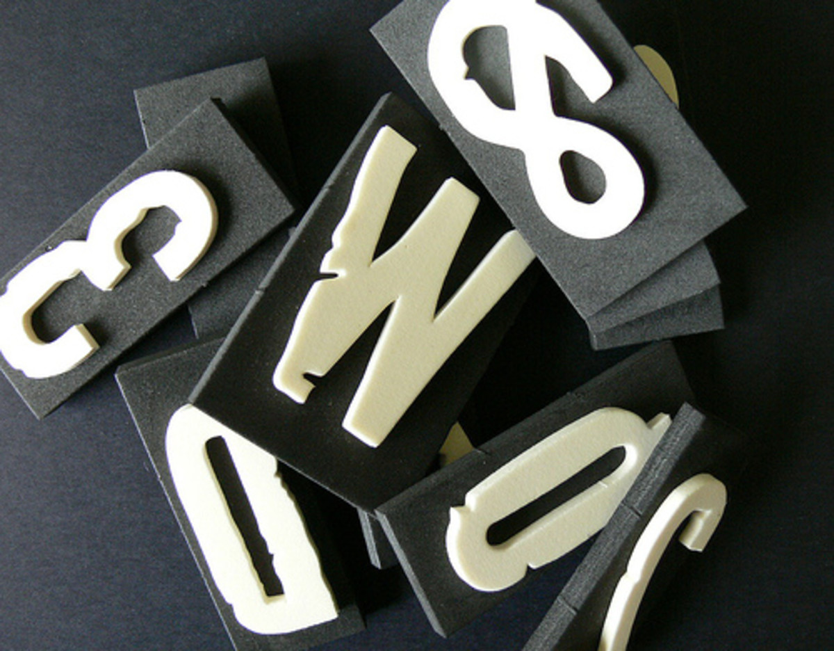 [http://www.flickr.com/photos/76283671@N00/184621354/ - no longer active] Lainey purposely cut little dents in her letters to give them an older look.