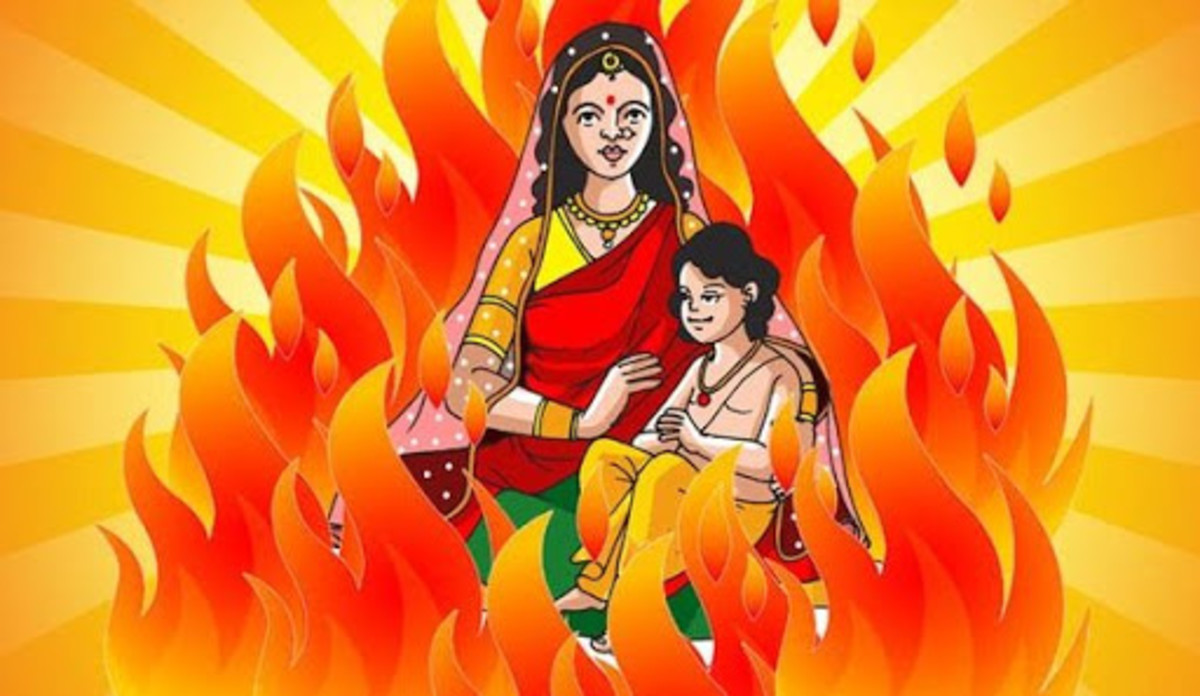 Holika Dahan - In Memory of the Great Victory of Devotion - Prahlad survives, while his aunt, Holika burns down to ashes in spite of the boon that fire would not burn her ....