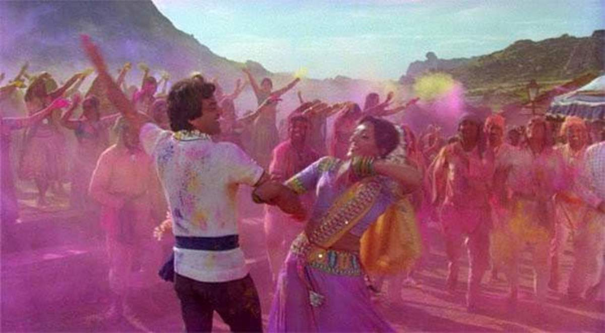 """Picture of Holi song from the movie """"Sholay"""" ...."""