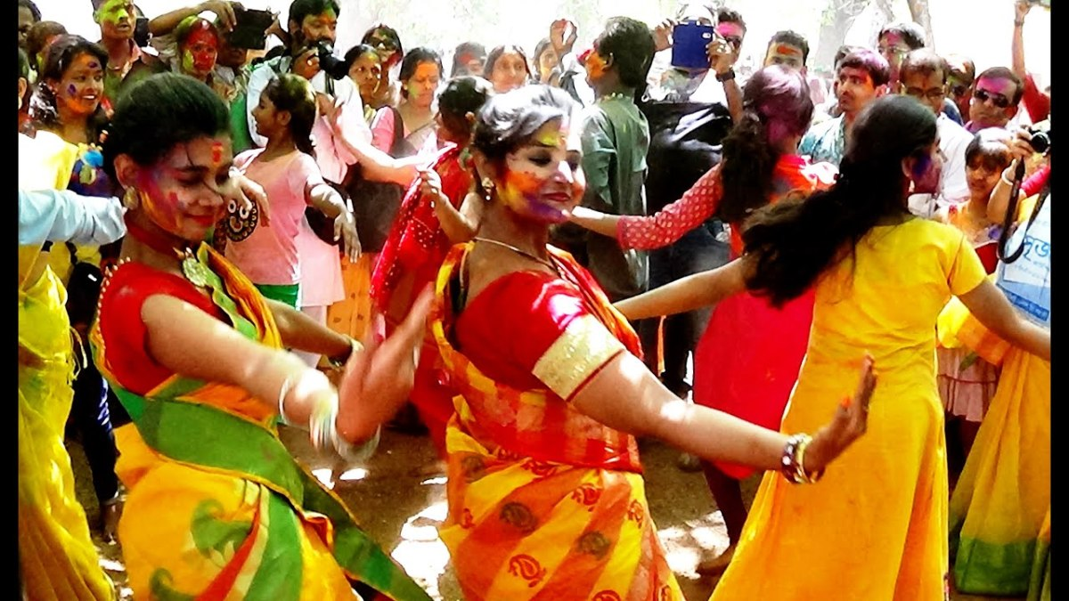 Dancing is spontaneous during Holi Celebrations ....