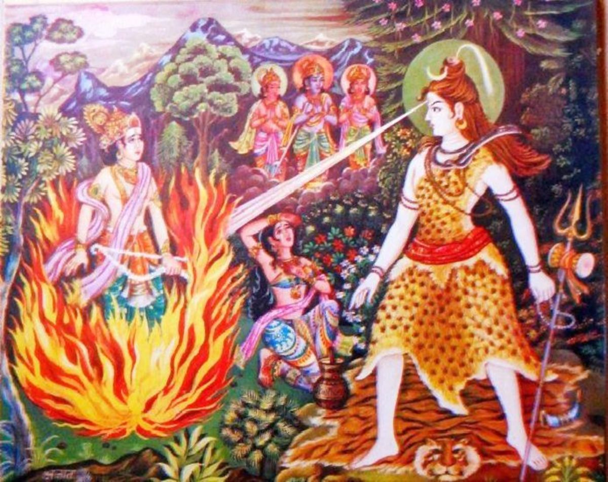 Aroused from His Deep Meditation, the flames from Lord Shiva's opened up Third Eye burn Kaamadeva ....