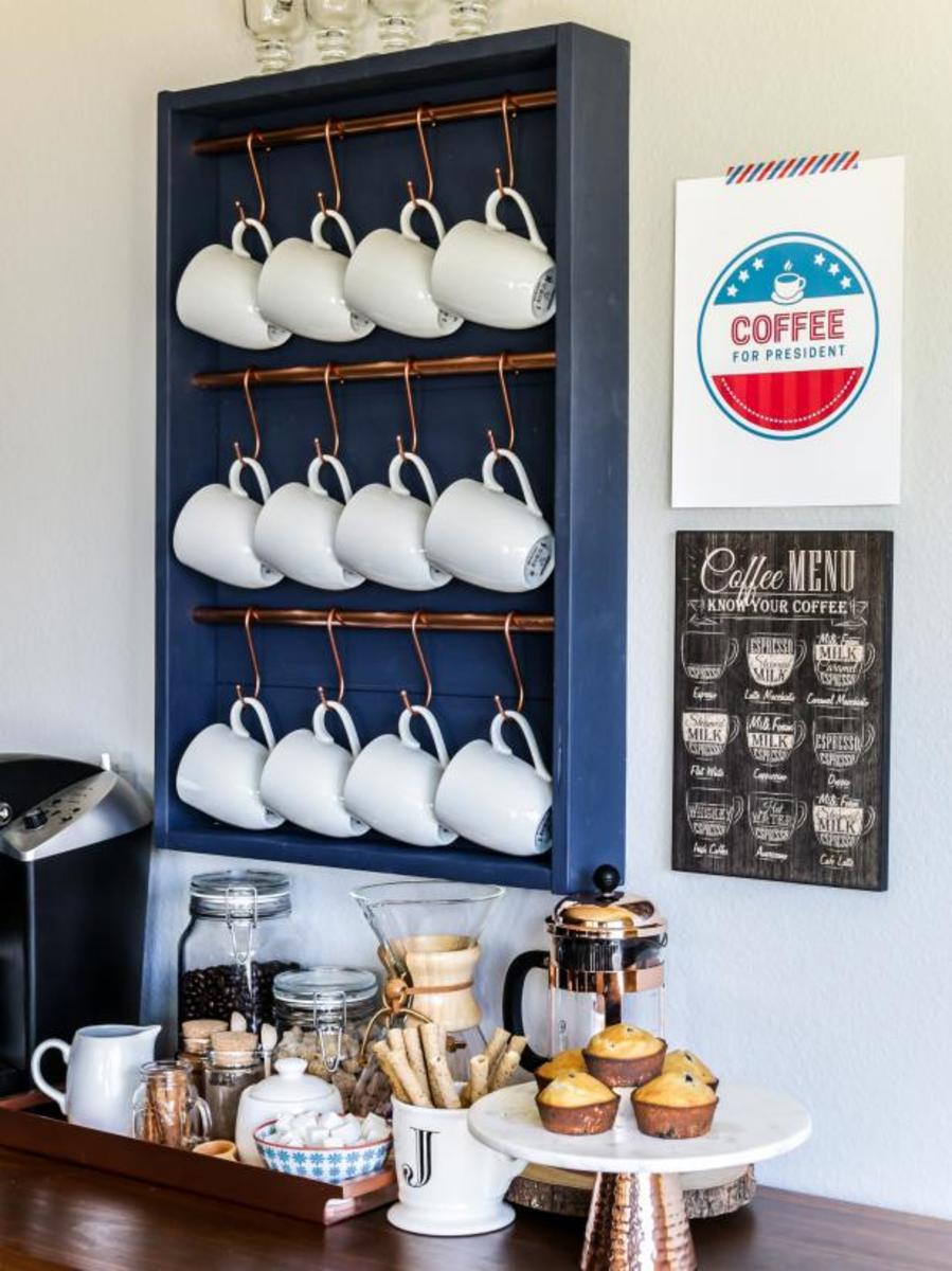 Grab some the wood  will work) and some hooks for this basic build. Then, to show your mugs, hang them on the display.