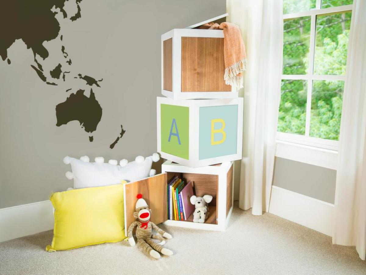 For your child's play storage, make a package of letter blocks. Paint over the letters to use the bricks as end tables when they're older. This is a single block's set of instructions.