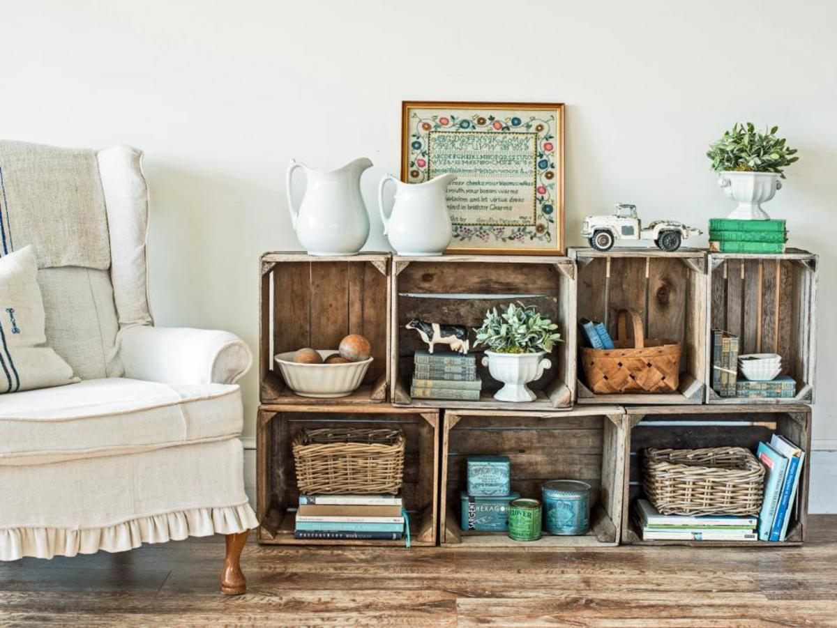 This simple storage unit is a perfect way to repurpose old crates and transform them into a useful, one-of-a-kind piece for your house.