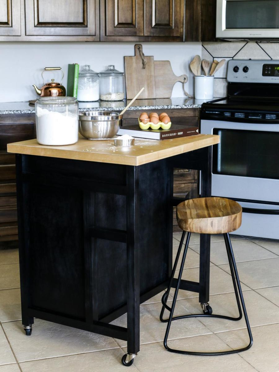 A little island on wheels is the ideal way to expand your living room without taking up valuable real estate. When you're preparing or baking, roll it into place, and then roll it out when you need to make room for a crowd.