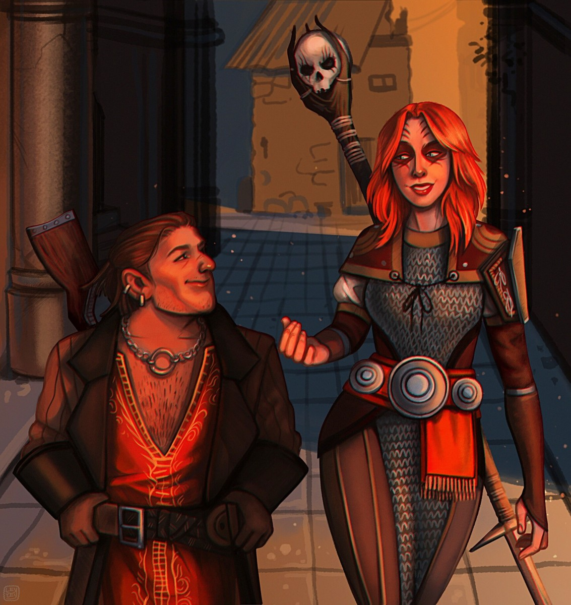 Beautiful fan art of Varric and female mage Hawke.