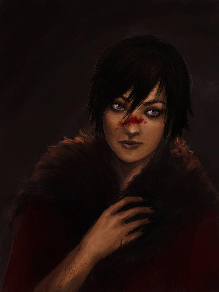 Fan art of mage Hawke wearing the iconic black fur cape.