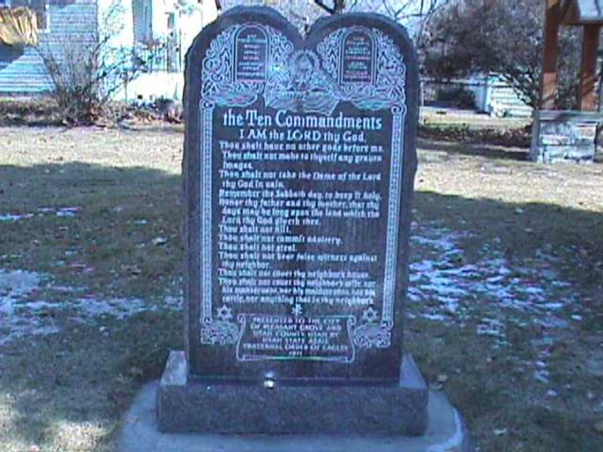 Subject of a court case, this tablet of the Ten Commandments now sits on private land accessible for all to see.