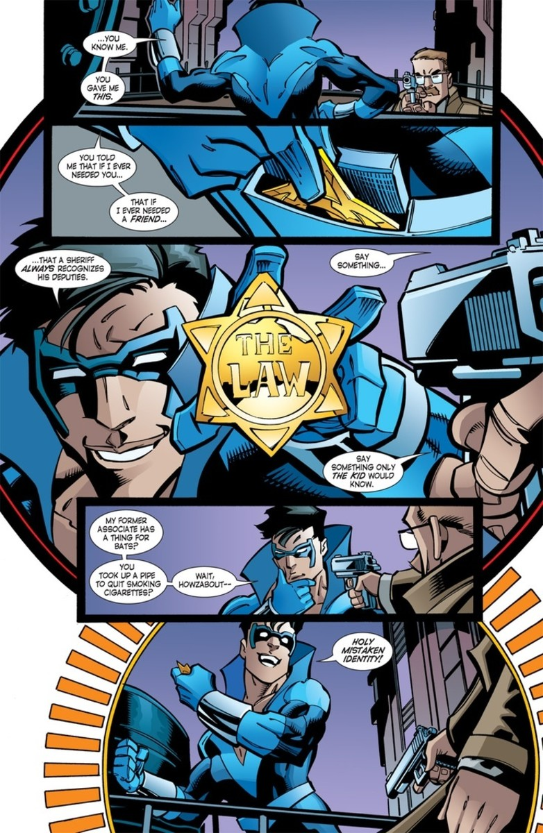 Nightwing reintroducing himself to Commissioner Jim Gordon.