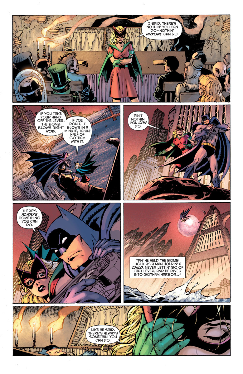 Heroes and villains attend Batman's funeral.