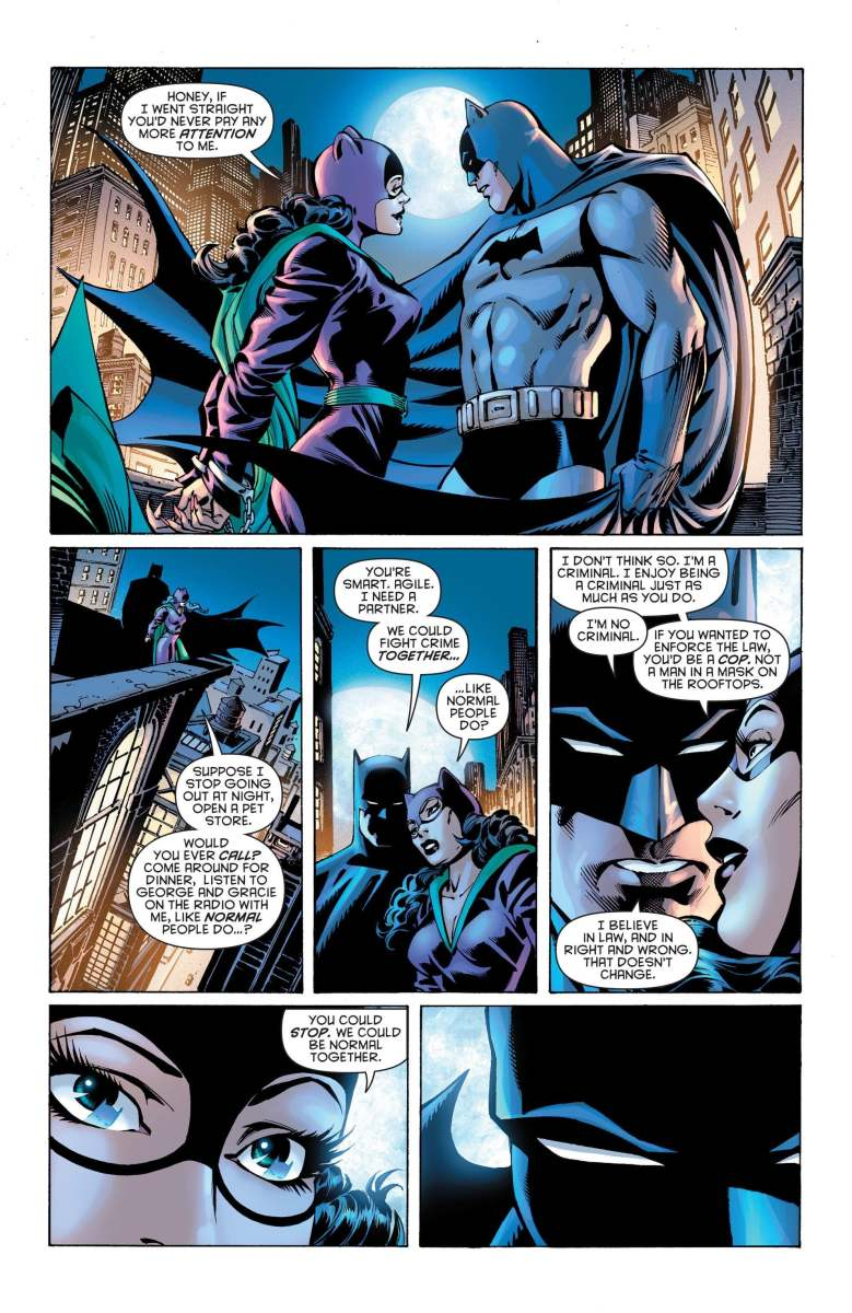 Batman and Catwoman talk about their relationship.