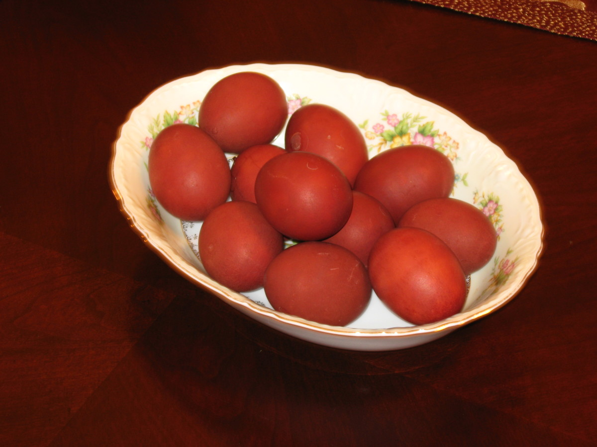 Colored Easter Eggs made with traditional Russian process of adding onion skins to the water when boiling the eggs