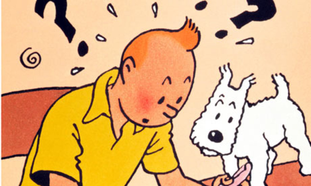 """Tintin Cartoon Segment with """"Snowy"""" or """"Milou"""", The Bichon Frise.  Picture from Google Images,"""