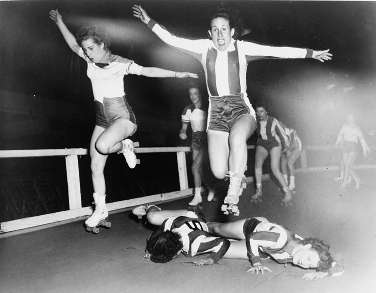 Roller Derby in 1950. First featured in Chicago in 1935, Roller Derby for men and women has enjoyed popularity since the 1950s.