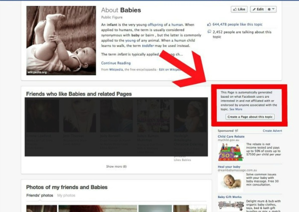 Facebook Community Page on Babies - Before It Was Removed!