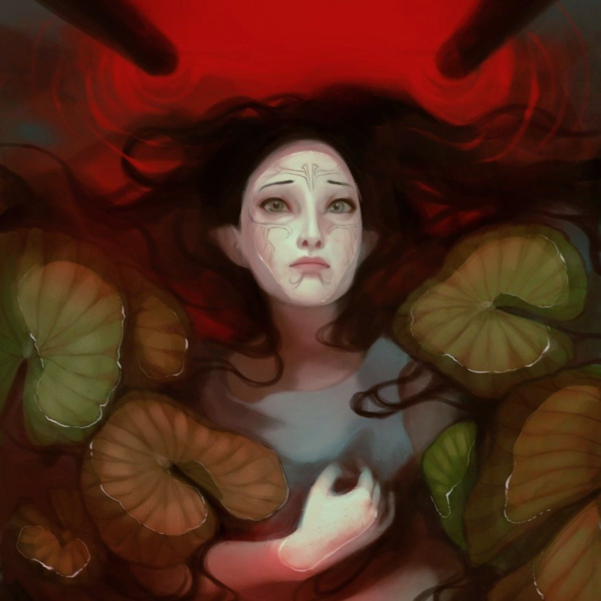 Fan art of sad Merrill swimming in blood.