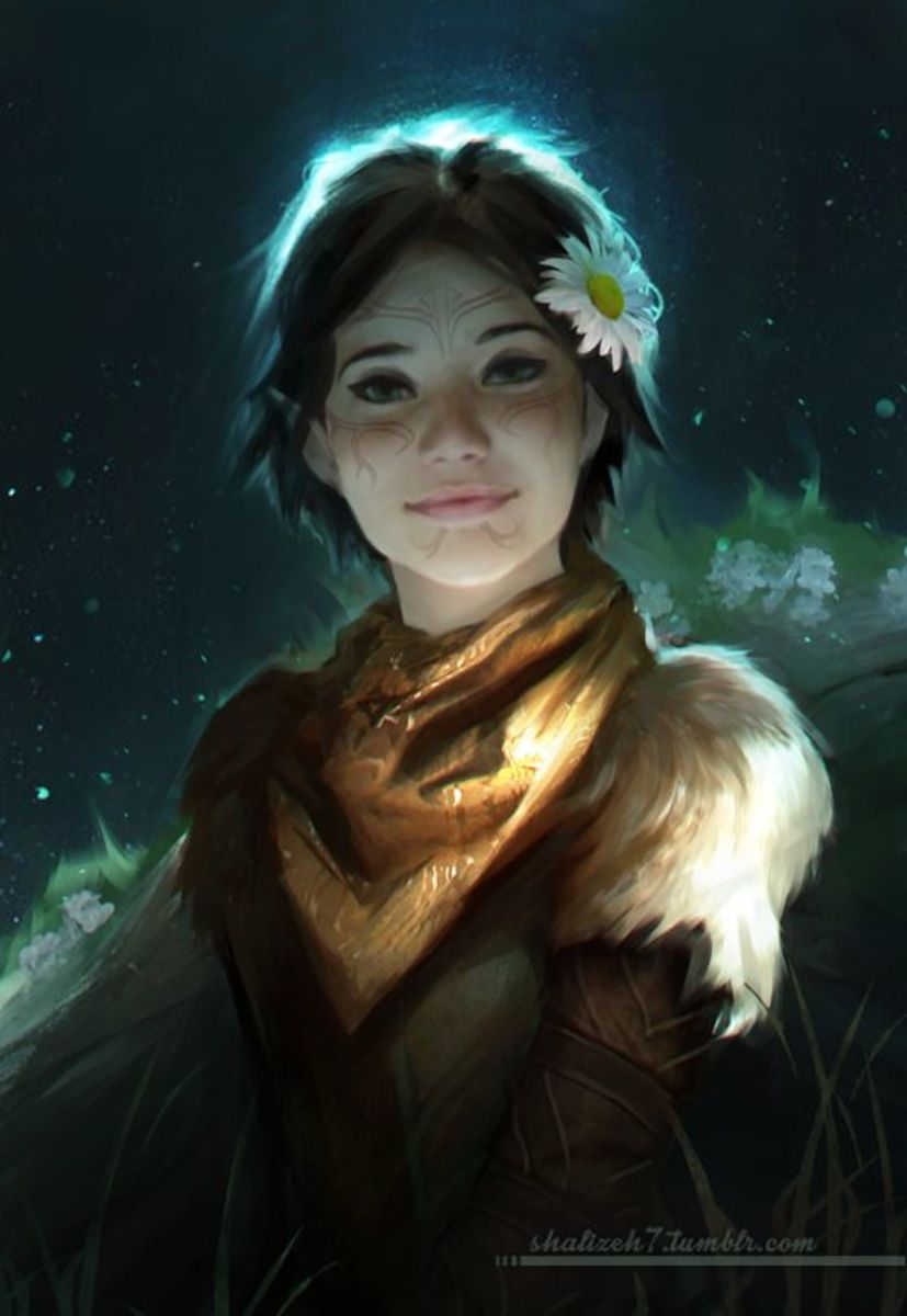 Cutesy fan art of Merrill, who looks twelve years old.