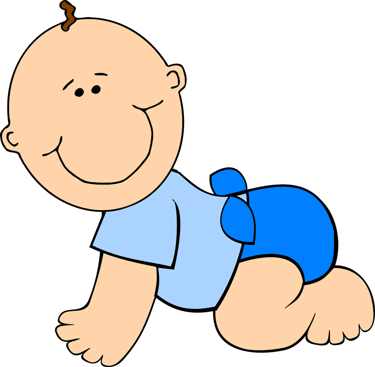 Baby wearing a diaper