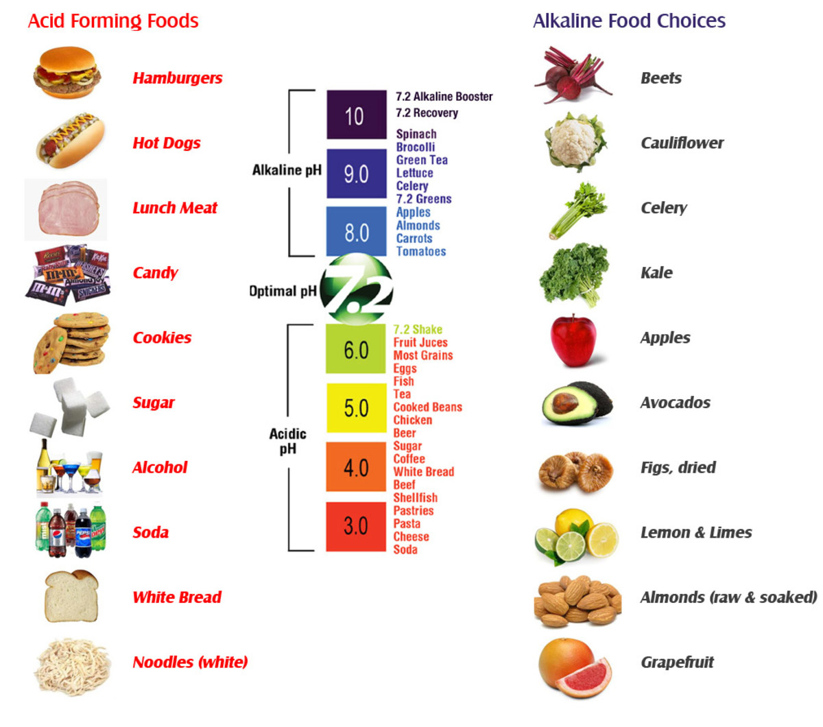 Small Example of Acidic foods vs Alkaline foods.