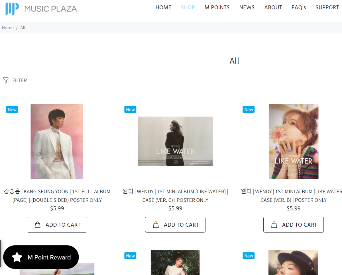 Music Plaza sells a variety of K-pop products