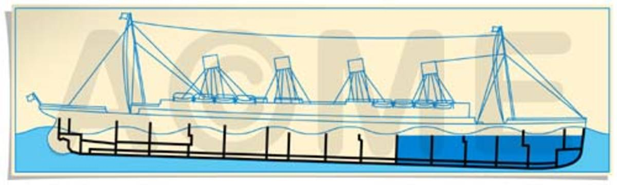 The shaded blue compartments are the ones that filled with water after Titanic struck the iceberg