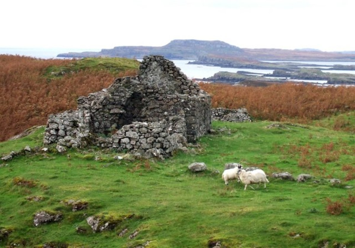 A ruined hut from the former settlement of Ormaig.
