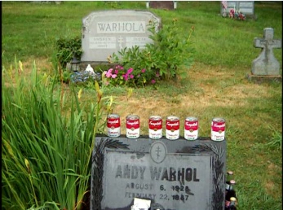 Warhol's Parents' Grave Looking Over His Own