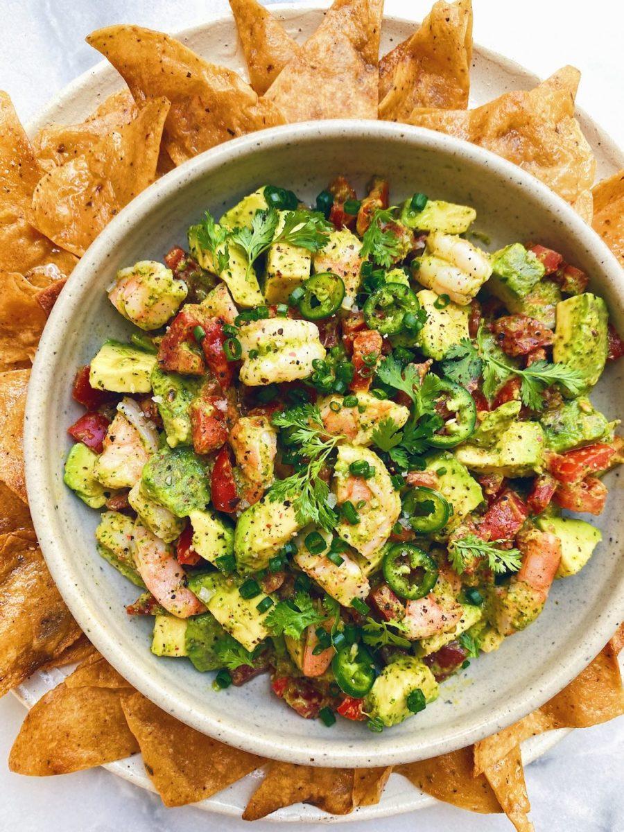 Shrimp, avocado, and tomato salad with spicy cilantro-lime dressing