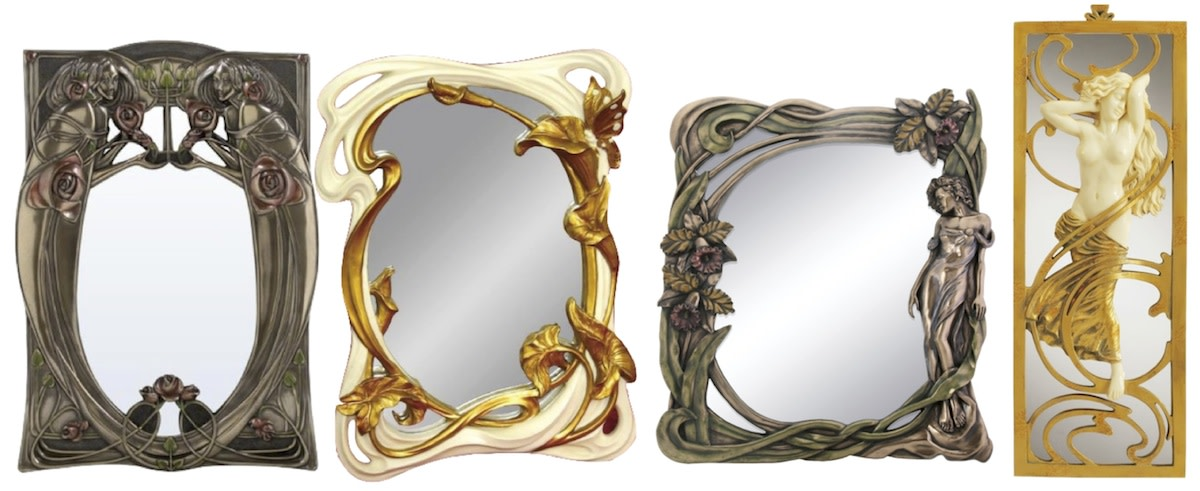 Left to Right: Art Nouveau Women and Roses Rectangular Wall Mirror, 13 Inch Standing/Hanging Hand Painted Art Nouveau Butterfly Mirror, Art Nouveau Orchid Mirror, Design Toscano Parisian Salon Art Nouveau Mirror.