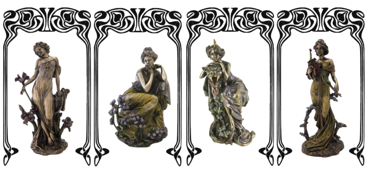 "Left to Right: ""Orchid"" (10.5"" high); ""Contemplation"" (7"" high); ""Beauty and Beast"" is  is 9.75 inches tall; and ""Spring"" is 11"" in height. All in cold cast bronze/bronze resin. Some with handpainted highlights."