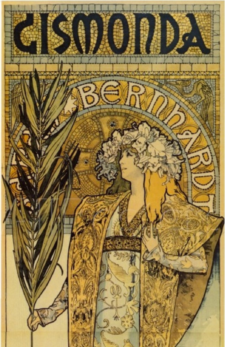 A detail from the poster that started it all. Sarah Bernhardt as Gismonda, by Alphonse Mucha. Available in a variety of sizes and formats at