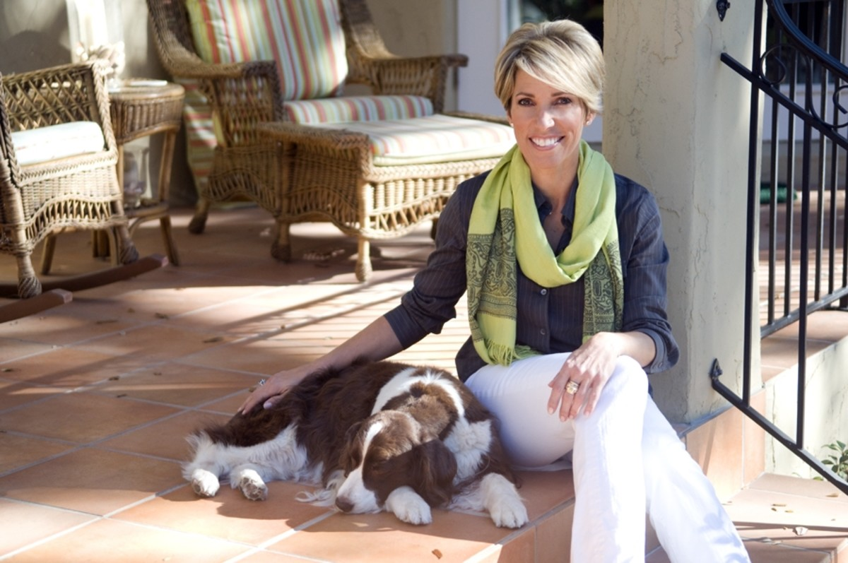 HSN's Judy Crowell formerly of QVC fashionably dons a casual pashmina while at home with her dog