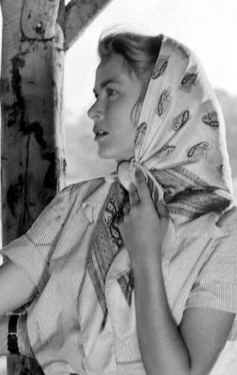 Grace Kelly with a third and also great fashion statement using a silk scarf for a head scarf