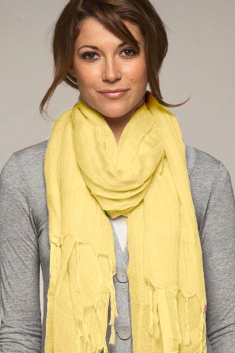 Yellow pashmina with grey
