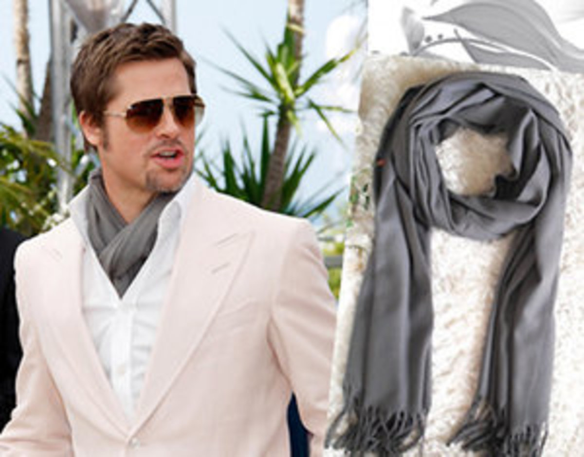 Brad Pitt in a Grey Pashmina and pink blazer