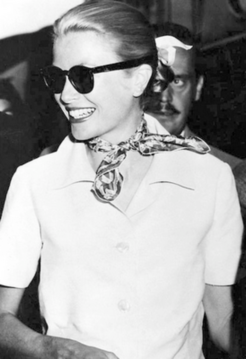 Grace Kelly sporting another great use of a fashionable scarf - a casual neck scarf